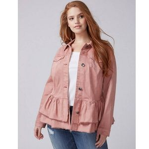 Lane Bryant Pink Double Ruffle Denim Jacket NWT